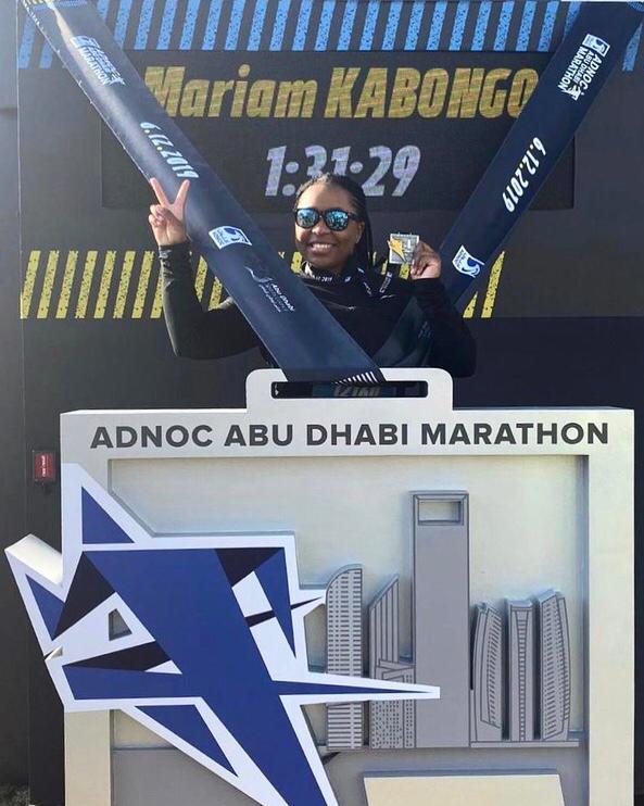 Miriam Kabongo - after finishing ADNOC Abu Dhabi marathon